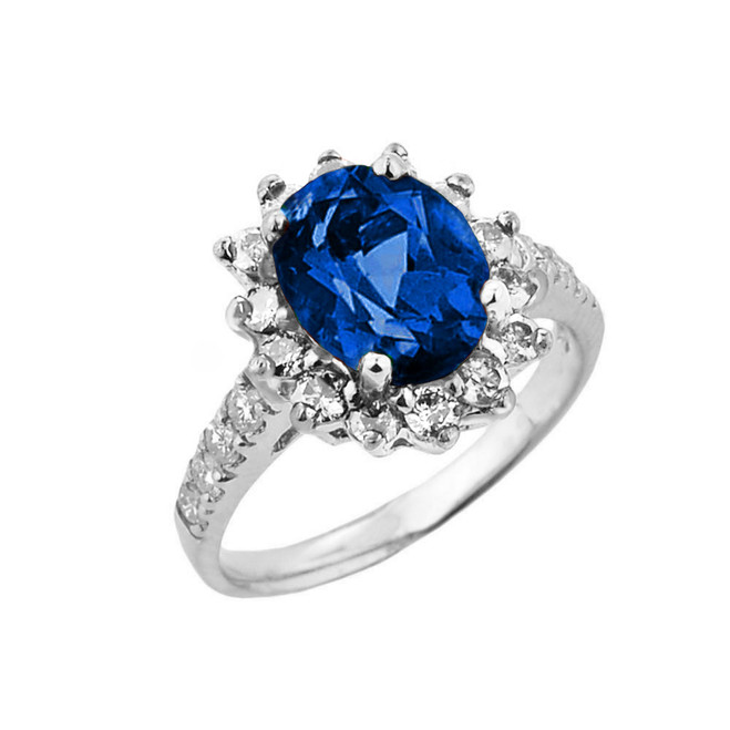 White Gold Diamond And Sapphire (LCS) September Birthstone Proposal Ring