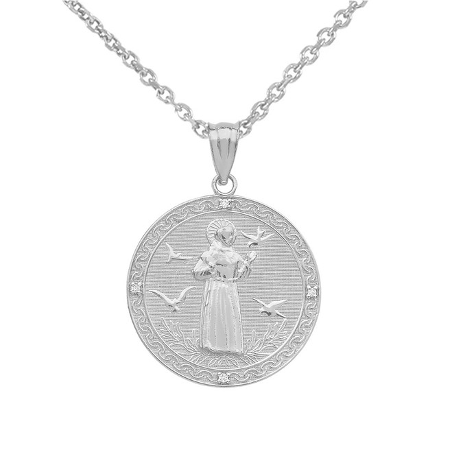 Sterling Silver Saint Francis of Assisi Circle Medallion CZ Stone Pendant Necklace (Small)