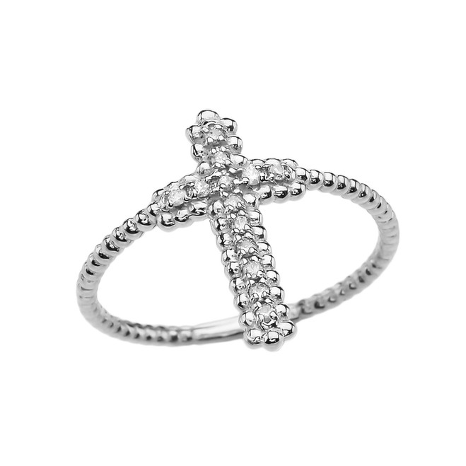 Diamond Cross Beaded Index Ring in White Gold