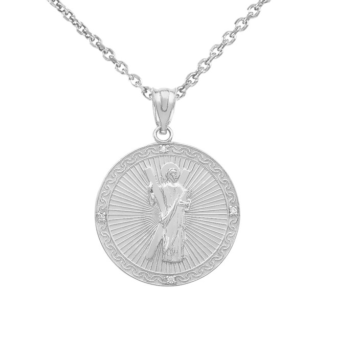 Sterling Silver Saint Andrew Circle Medallion CZ Stone Pendant Necklace (Small)