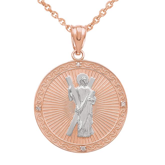Two Tone Rose Gold St. Andrew Circle Medallion Diamond Pendant Necklace  (Medium)