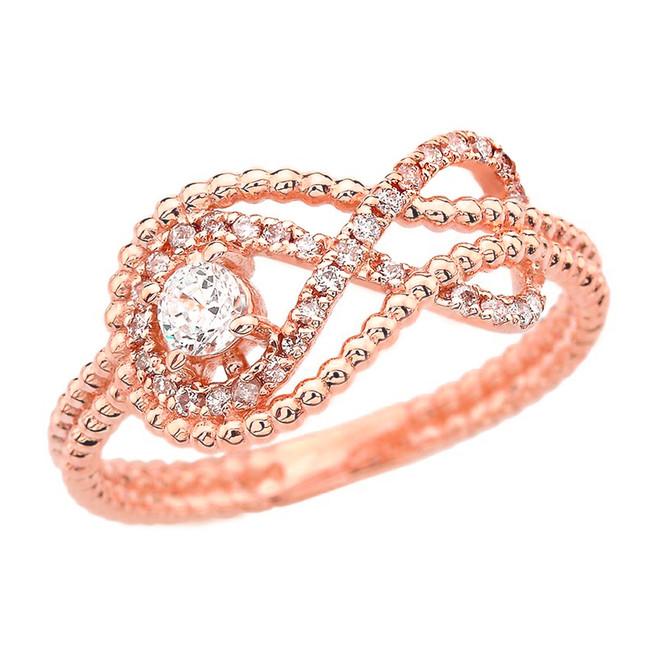 Diamond Infinity Beaded Ring in Rose Gold
