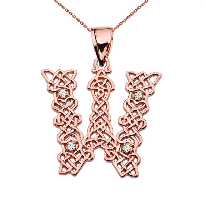 """W"" Initial In Celtic Knot Pattern Rose Gold Pendant Necklace With Diamond"