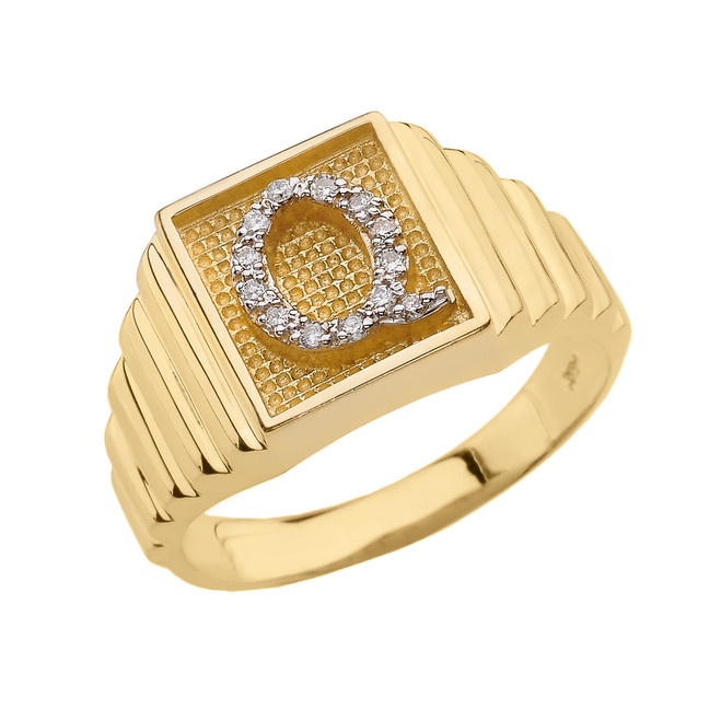 Yellow Gold Diamond Initial Q Ring