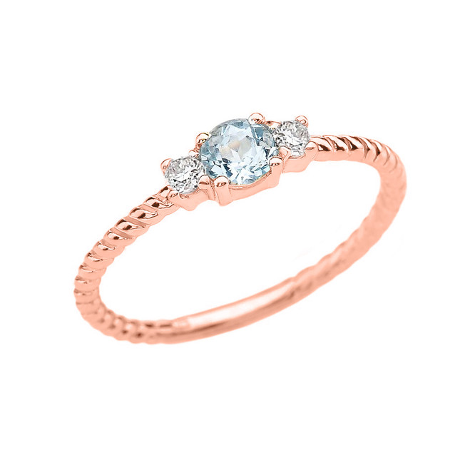 Rose Gold Dainty Solitaire Aquamarine and White Topaz Rope Design Promise/Stackable Ring