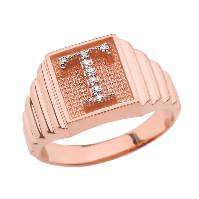 Rose Gold Diamond Initial T Ring