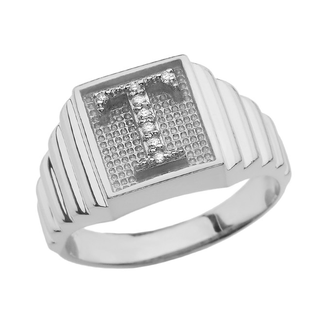 Sterling Silver Diamond Initial T Ring