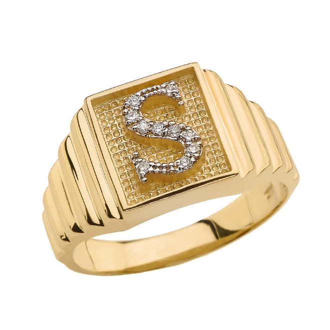 Yellow Gold Diamond Initial S Ring