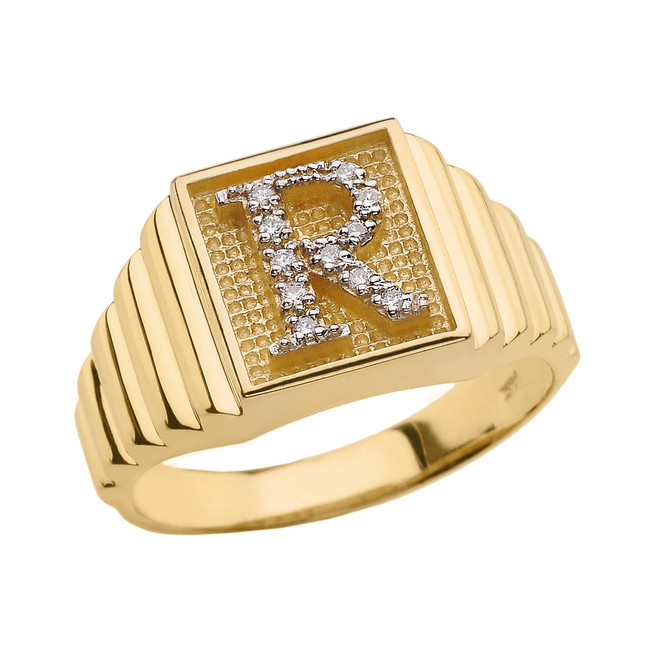 Yellow Gold Diamond Initial R Ring