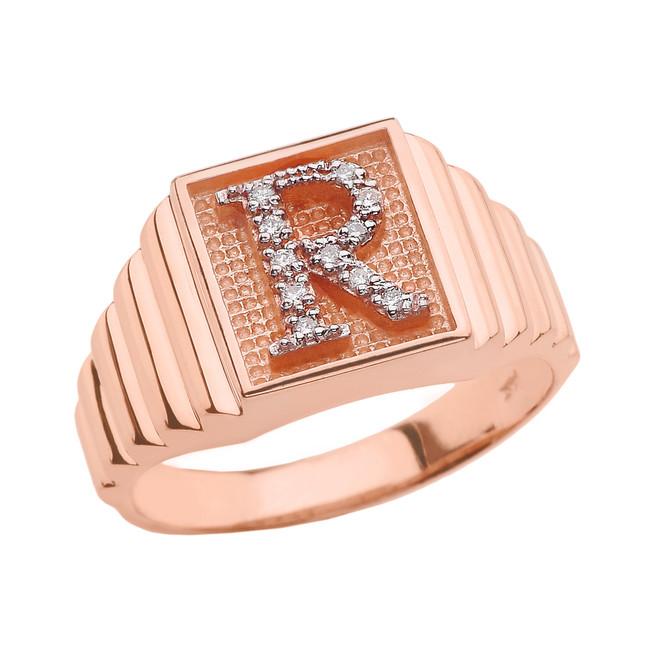 Rose Gold Diamond Initial R Ring