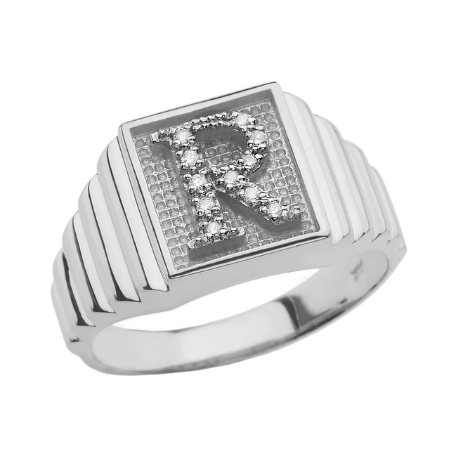 Sterling Silver Diamond Initial R  Ring