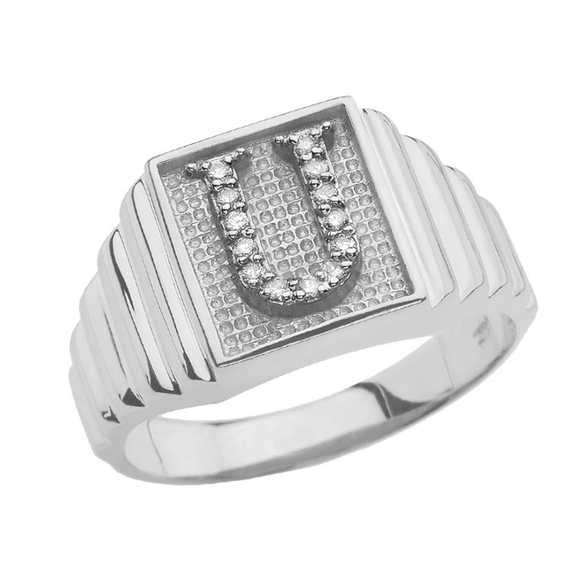 Sterling Silver Diamond Initial U  Ring