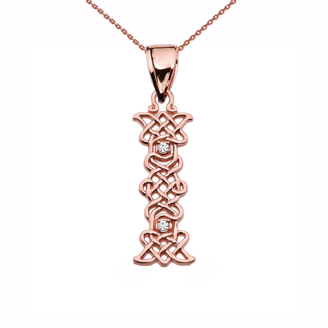 """I"" Initial In Celtic Knot Pattern Rose Gold Pendant Necklace With Diamond"