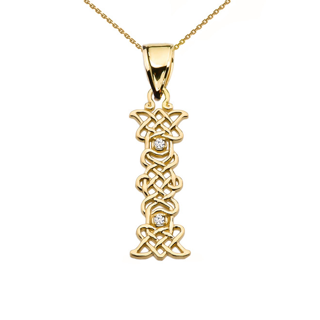 """I"" Initial In Celtic Knot Pattern Yellow Gold Pendant Necklace With Diamond"