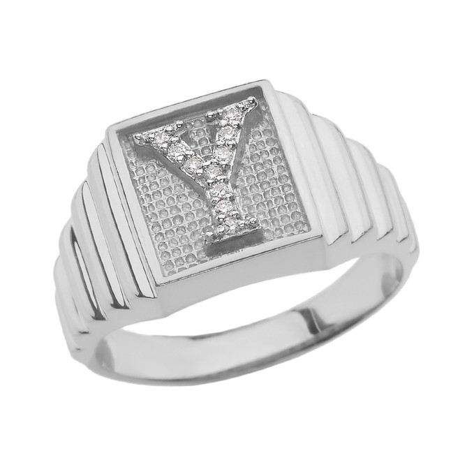 White Gold Diamond Initial Y Ring