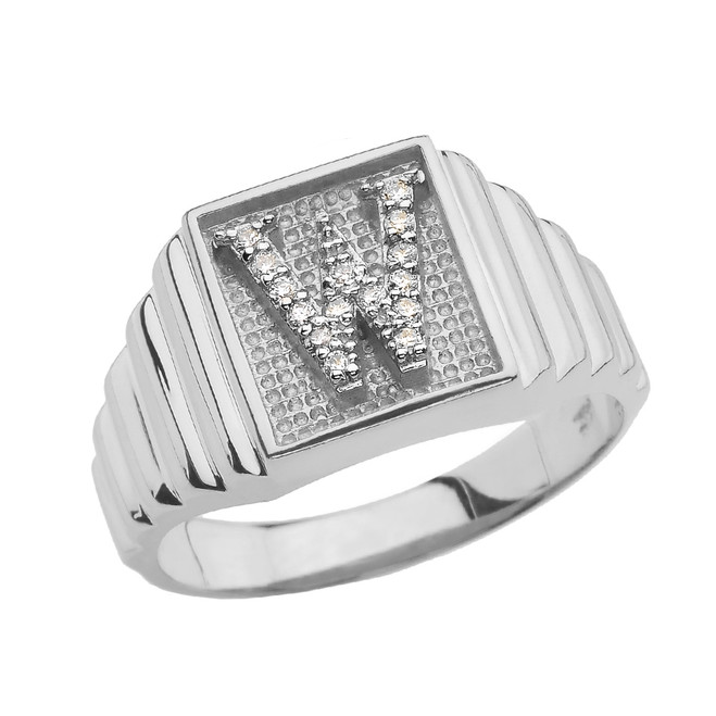 White Gold Diamond Initial W Ring