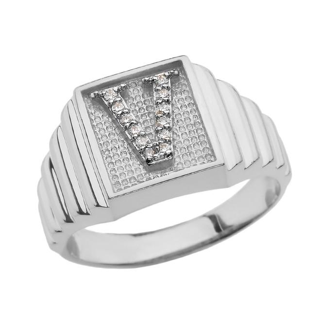 White Gold Diamond Initial V Ring