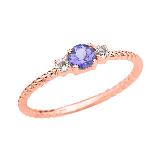 Rose Gold Dainty Solitaire Tanzanite and White Topaz Rope Design Promise/Stackable Ring