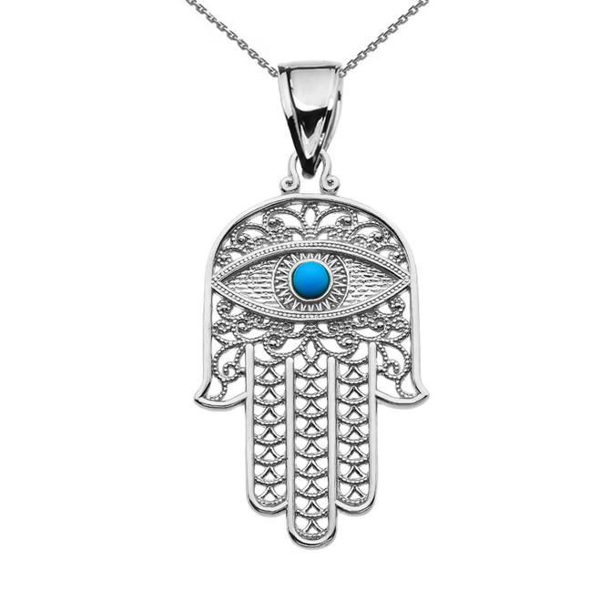 Turquoise Evil Eye Hamsa Hand White Gold Pendant Necklace