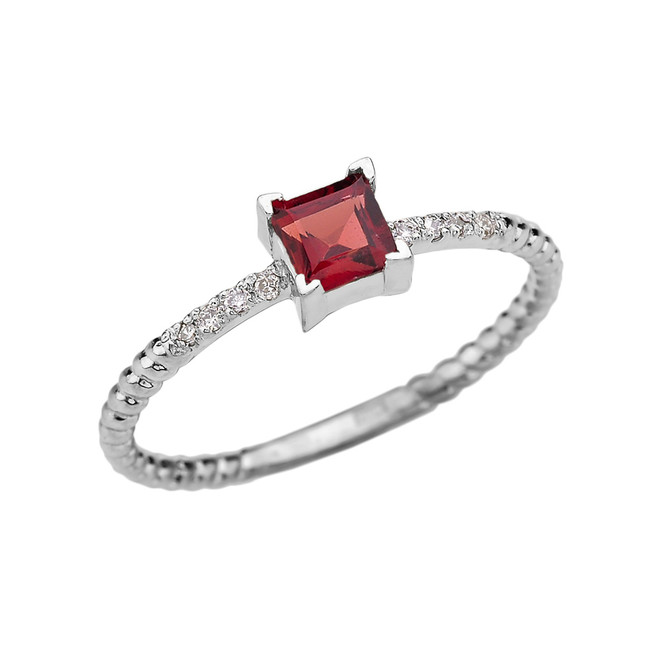 Dainty White Gold Solitaire Princess Cut Garnet and Diamond Rope Design Engagement/Promise Ring