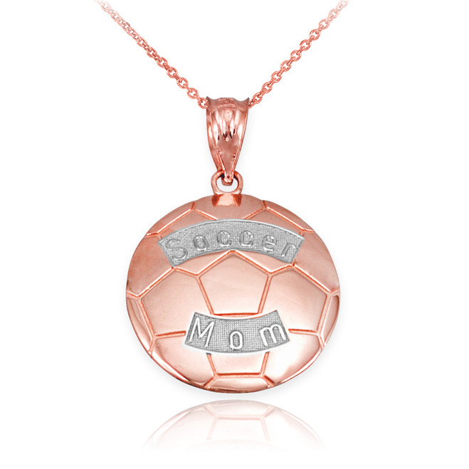 Two Tone Rose Gold Soccer Mom Soccer Ball Sports Pendant Necklace