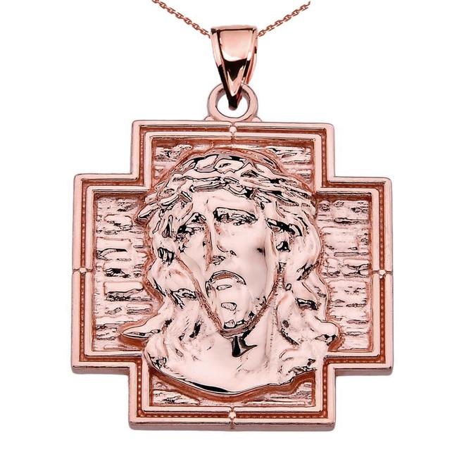 Rose Gold Jesus Christ Cross Pendant Necklace
