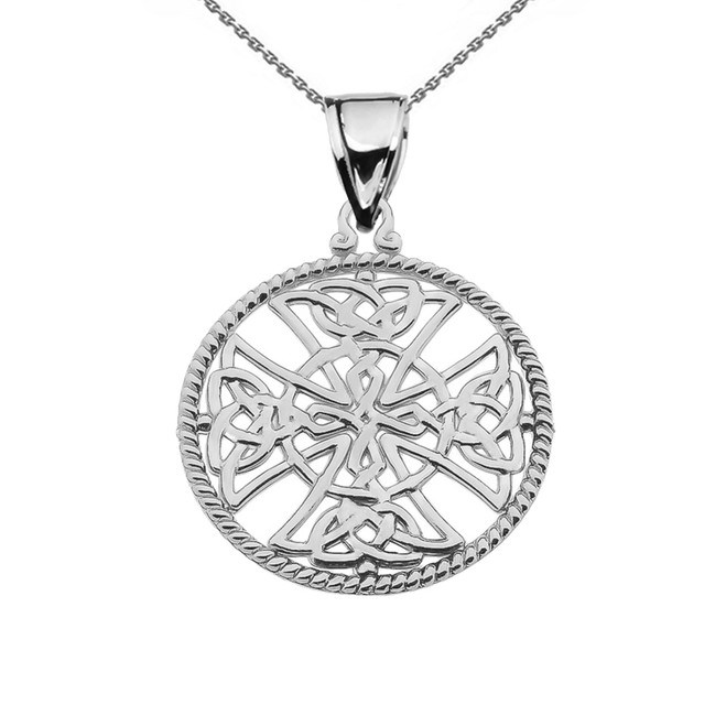 Sterling Silver Trinity Knot Celtic Cross In A Round Rope Frame Pendant Necklace