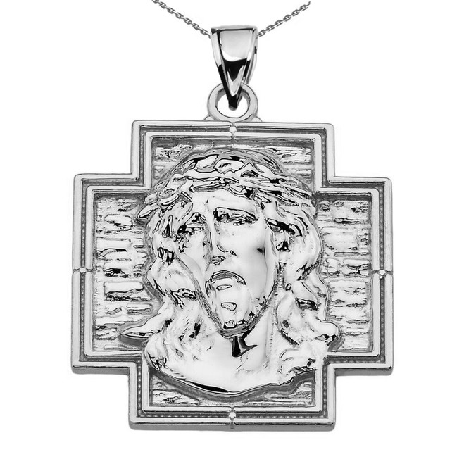 Sterling Silver Jesus Christ Cross Pendant Necklace