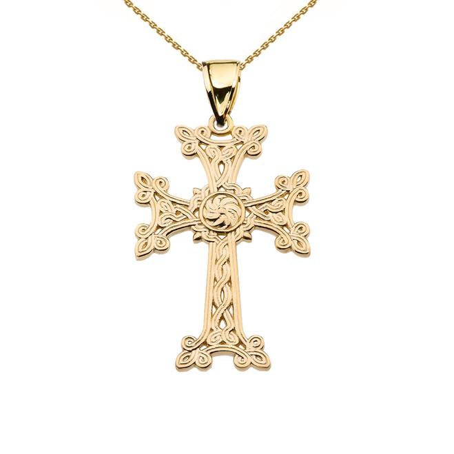 "Eternity ""Khachkar"" Armenian Cross Yellow Gold Pendant Necklace (Small)"