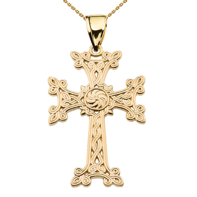 "Eternity ""Khachkar"" Armenian Cross Yellow Gold Pendant Necklace (Large)"