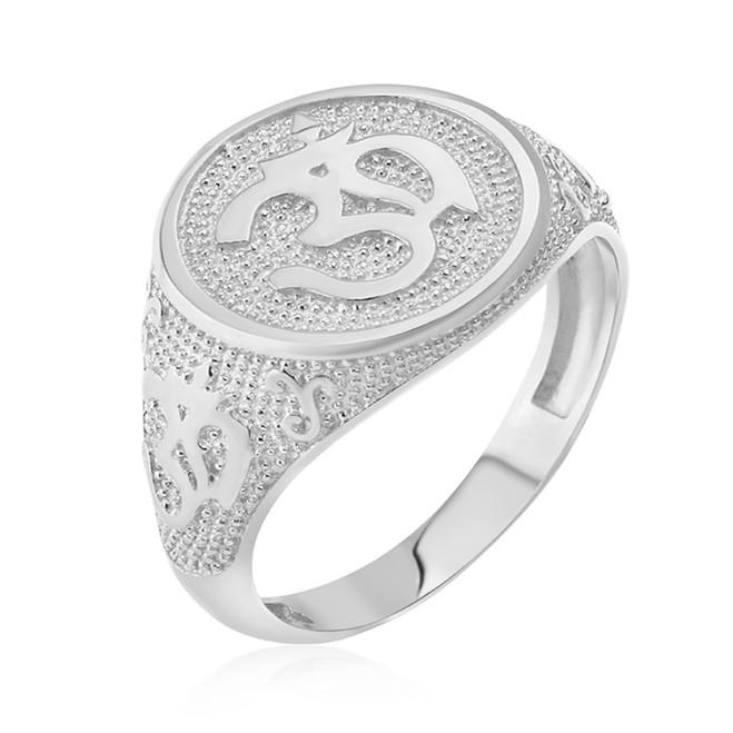 Sterling Silver Om Symbol Harmony Men's Ring