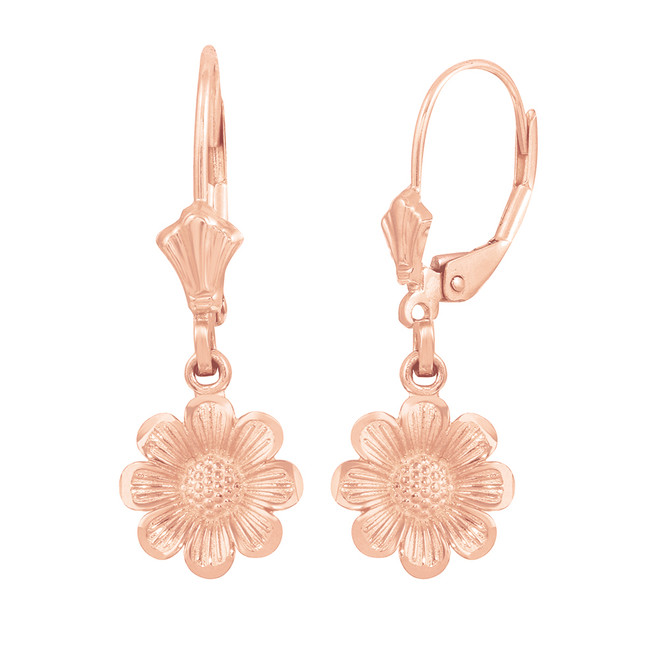 14K Rose Gold Sunflower Diamond Cut Earring Set