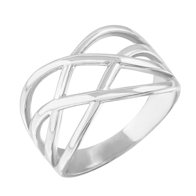 Sterling Silver Celtic Knot Wide Band Women's Ring