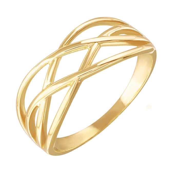Yellow Gold Celtic Knot Thin Band Women's Ring