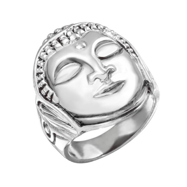 Sterling Silver Buddha Head Tibetan Medicinal Men's Ring