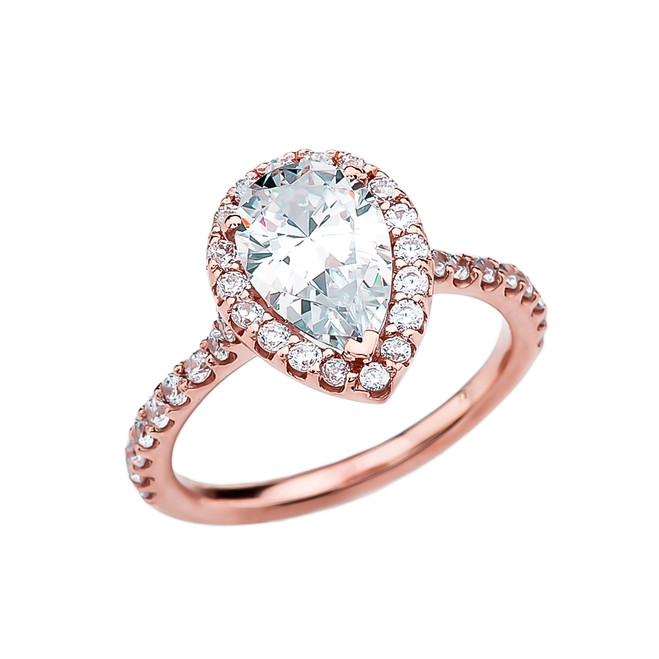 3 Carat Cubic Zirconia Pear Shape Solitaire Elegant Rose Gold Engagement Proposal Ring