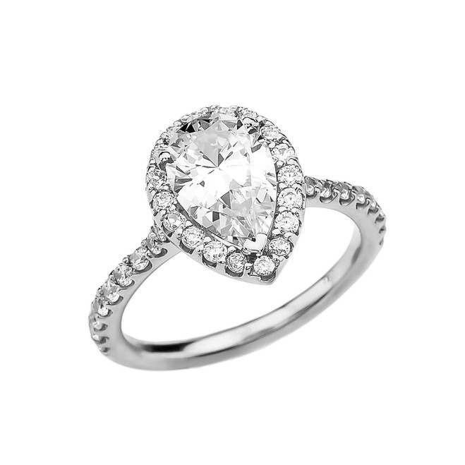 3 Carat Cubic Zirconia Pear Shape Solitaire Elegant White Gold Engagement Proposal Ring