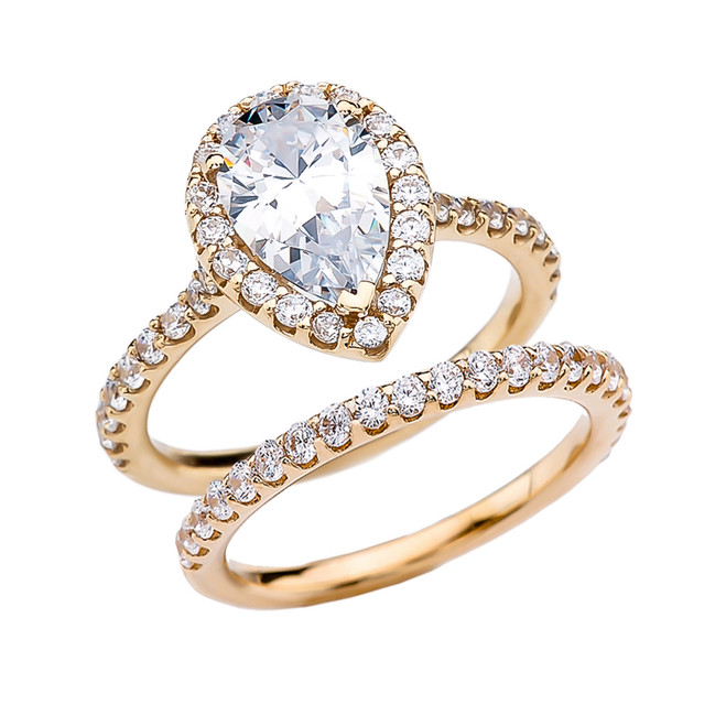 Pear Shape Solitaire Elegant Yellow Gold Cubic Zirconia Engagement Wedding Ring Set