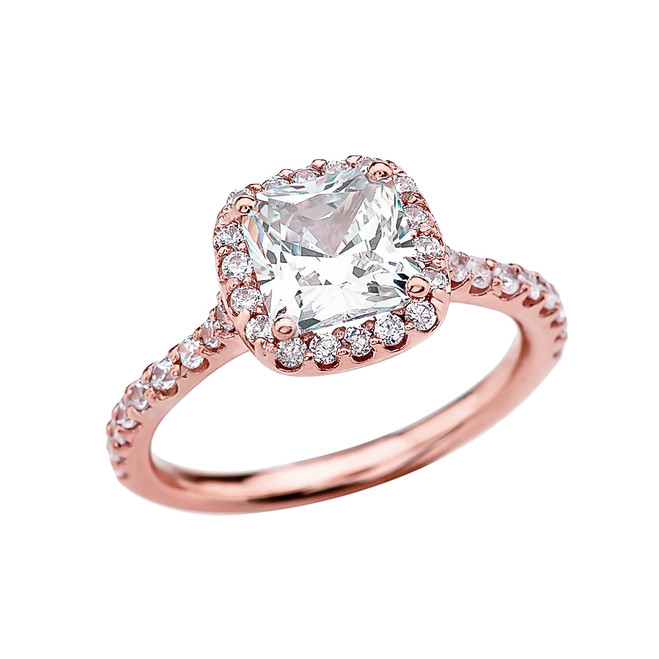 3 Carat Cubic Zirconia Cushion Shape Solitaire Elegant Rose Gold Engagement Proposal Ring
