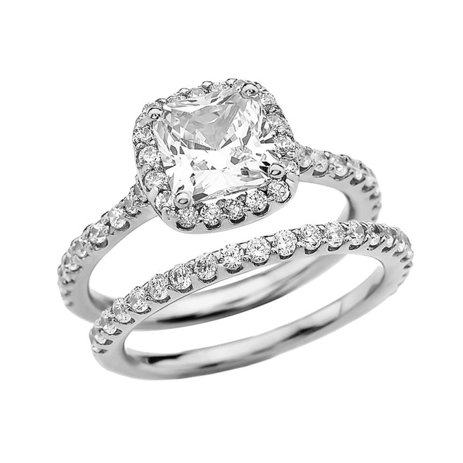 Cushion Shape Solitaire Elegant White Gold Cubic Zirconia Engagement Wedding Ring Set