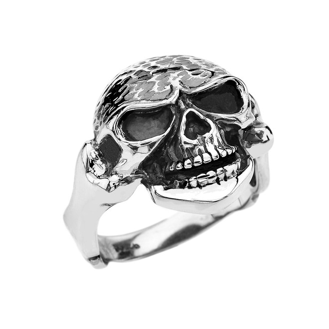 Sterling Silver Bone Shaped Design Skull Ring
