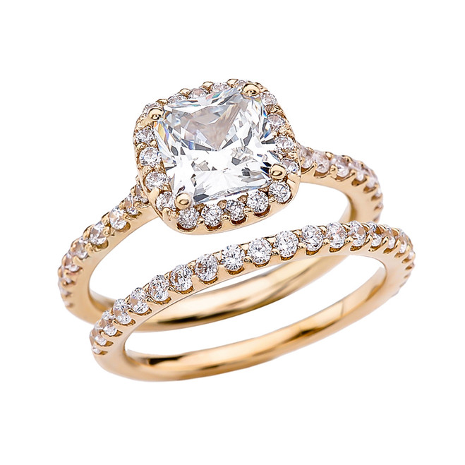 Cushion Shape Solitaire Elegant Yellow Cubic Zirconia Gold Engagement Wedding Ring Set