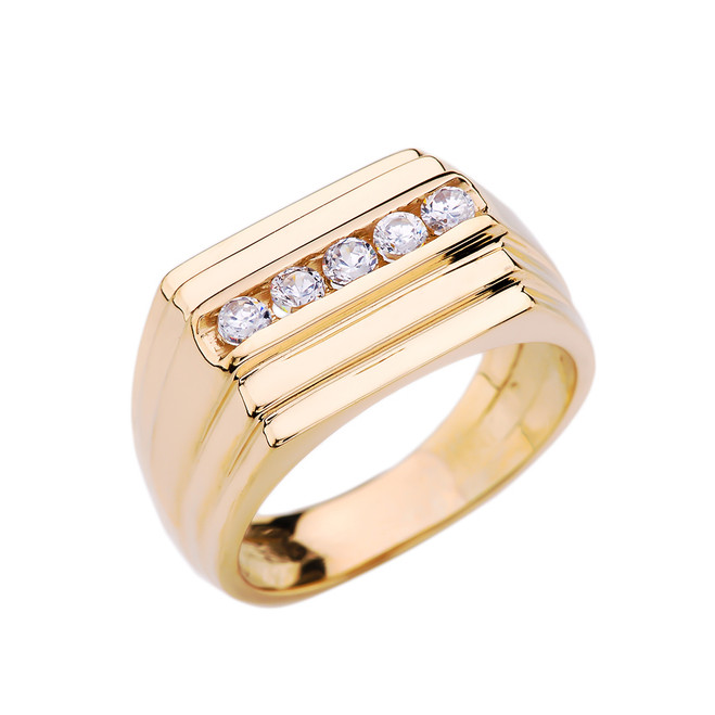 Yellow Gold Channel Set 0.5 Carat Diamond Men's Ring