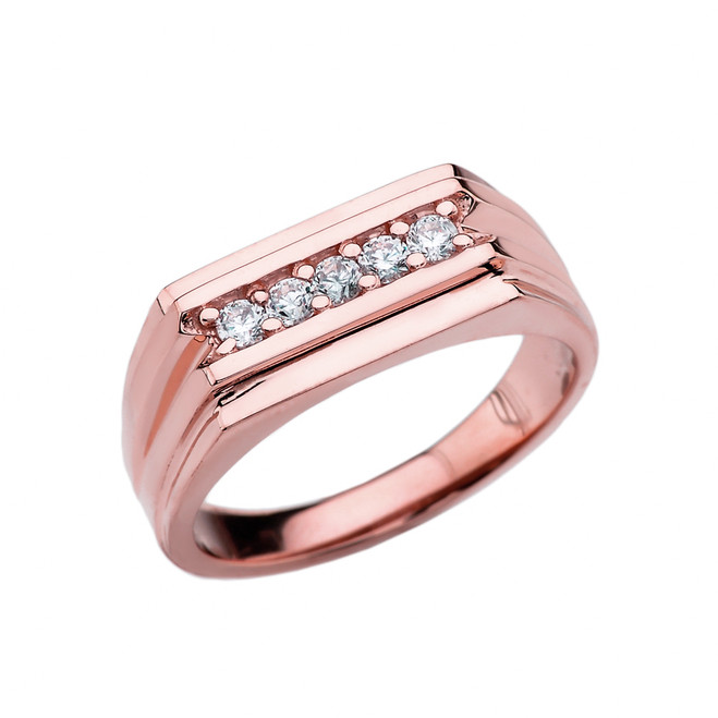 0.25 Carat Diamond Rose Gold Men's Ring