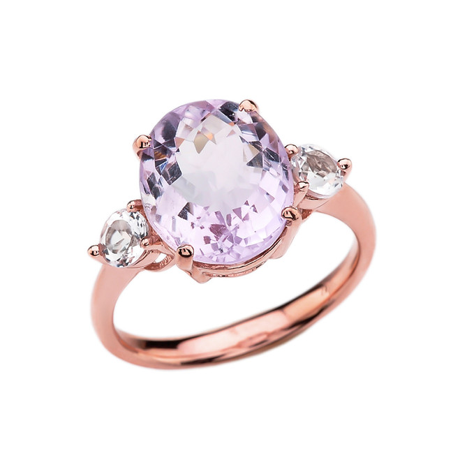 Rose Gold 4 Carat Pink Amethyst Modern Promise Ring With White Topaz Side-stones