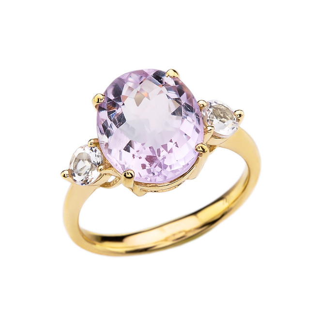 Yellow Gold 4 Carat Pink Amethyst Modern Promise Ring With White Topaz Side-stones