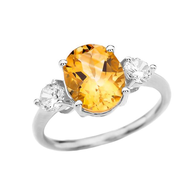 White Gold Citrine Modern Promise Ring With White Topaz Side-stones