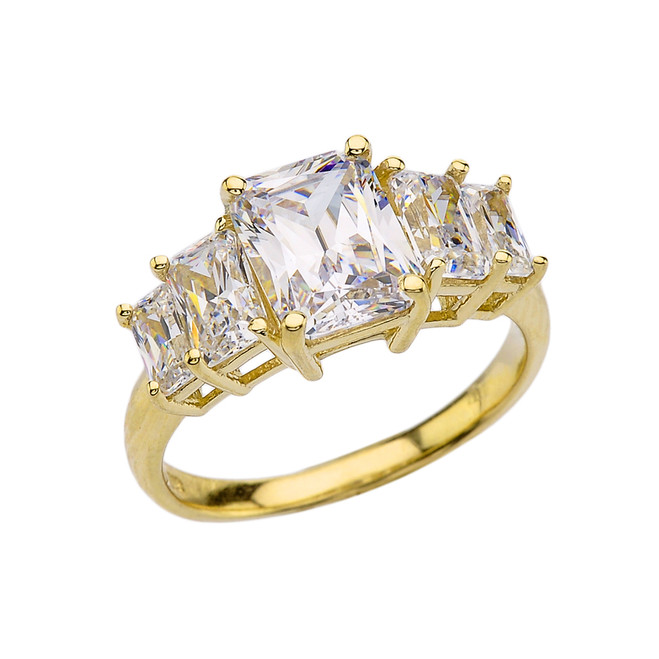 7 Carat Cubic Zirconia Yellow Gold Engagement and Proposal/Promise Ring