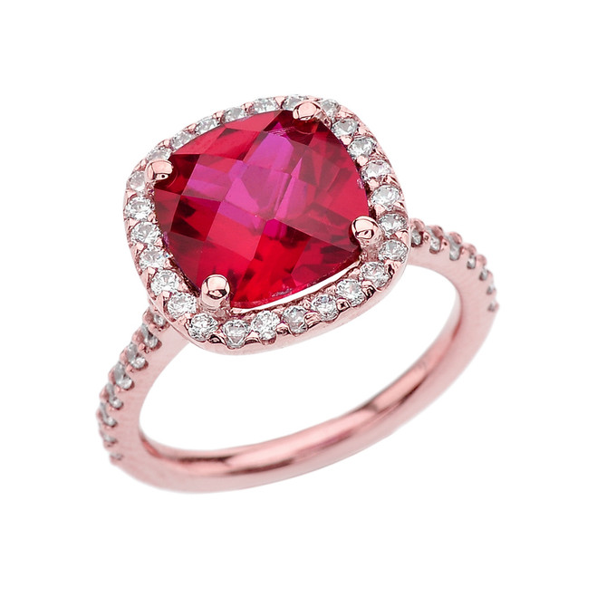 Halo Cushion 5 Ct Checkerboard Ruby(LCR) and Diamond Rose Gold Engagement and Proposal/Promise Ring