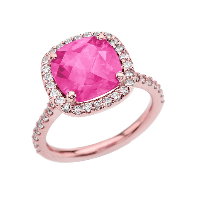Halo Cushion Diamond Engagement and Proposal/Promise Rose Gold Ring With Center-stone 5 Ct Lab Created Pink Diamond
